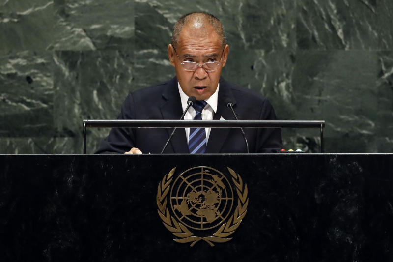 Tuvalu's Deputy Prime Minister Minute Taupo addresses the 74th session of the United Nations General Assembly, Saturday, Sept. 28, 2019. (AP Photo/Richard Drew)