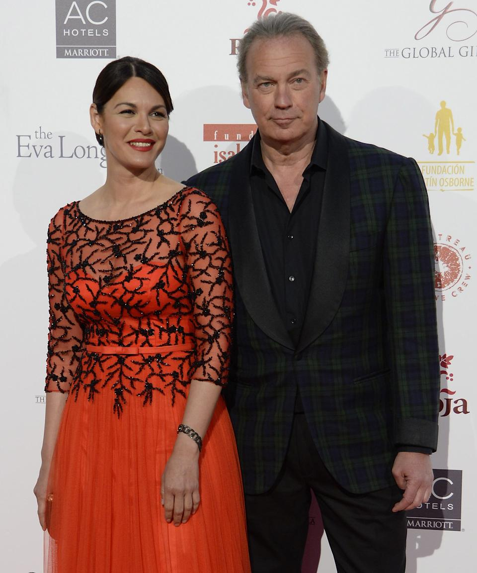 MADRID, SPAIN - APRIL 02:  (L-R) Fabiola Martinez and Bertin Osborne attend the Global Gift Gala at the Palacio de Cibeles on April 2, 2016 in Madrid, Spain.  (Photo by Fotonoticias/WireImage)