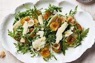"""Peppery arugula loves to be matched with sweet-tart plums. Don't skip the cheese, which adds richness to this salad. <a href=""""https://www.epicurious.com/recipes/food/views/arugula-with-italian-plums-and-parmesan?mbid=synd_yahoo_rss"""" rel=""""nofollow noopener"""" target=""""_blank"""" data-ylk=""""slk:See recipe."""" class=""""link rapid-noclick-resp"""">See recipe.</a>"""