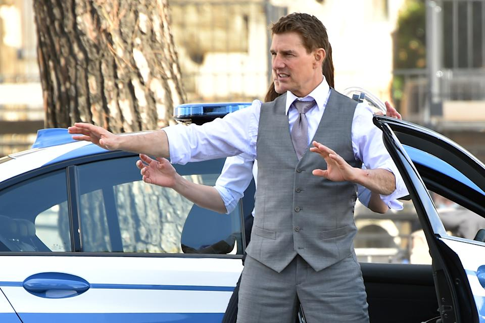 Actors Tom Cruise and Hayley Atwell on set of Mission Impossible 7 movie in the fori imperiali street. Rome (Italy), October 13rd, 2020 (Photo by Massimo Insabato/Mondadori Portfolio/Sipa USA)
