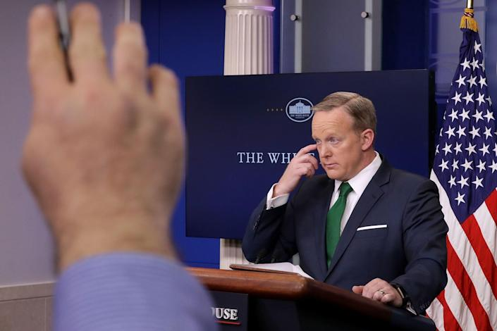 Press secretary Sean Spicer takes questions in the White House Brady Press Briefing Room on March 16. (Photo: Chip Somodevilla/Getty Images)