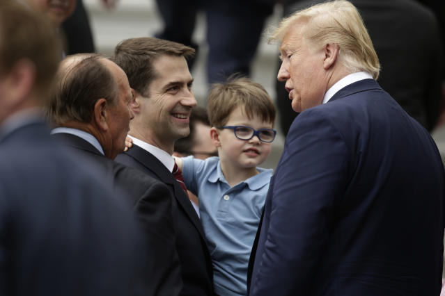 WASHINGTON, DC - MAY 09: U.S. President Donald Trump (R) greets Sen. Tom Cotton (R-AR) (L) during a South Lawn event at the White House May 9, 2019 in Washington, DC. President Donald Trump hosted the Boston Red Sox to honor their championship of the 2018 World Series.(Photo by Alex Wong/Getty Images)