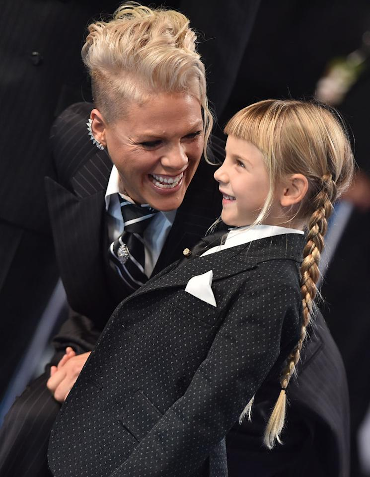 """<p>At the 2017 MTV Video Music Awards in August, Willow and her famous mom sported matching suits, as Pink prepared to accept the year's Michael Jackson Video Vanguard Award. During her speech, she brought down the house telling <a rel=""""nofollow"""" rel=""""nofollow"""" href=""""https://www.yahoo.com/entertainment/pink-shuts-down-mtv-vmas-022716008.html"""">a moving story</a> about how she handled it when Willow came to her, worried about the way she looked. """"You, my darling girl, are beautiful and I love you,"""" Pink said from the stage. (Photo: Axelle/Bauer-Griffin/FilmMagic) </p>"""