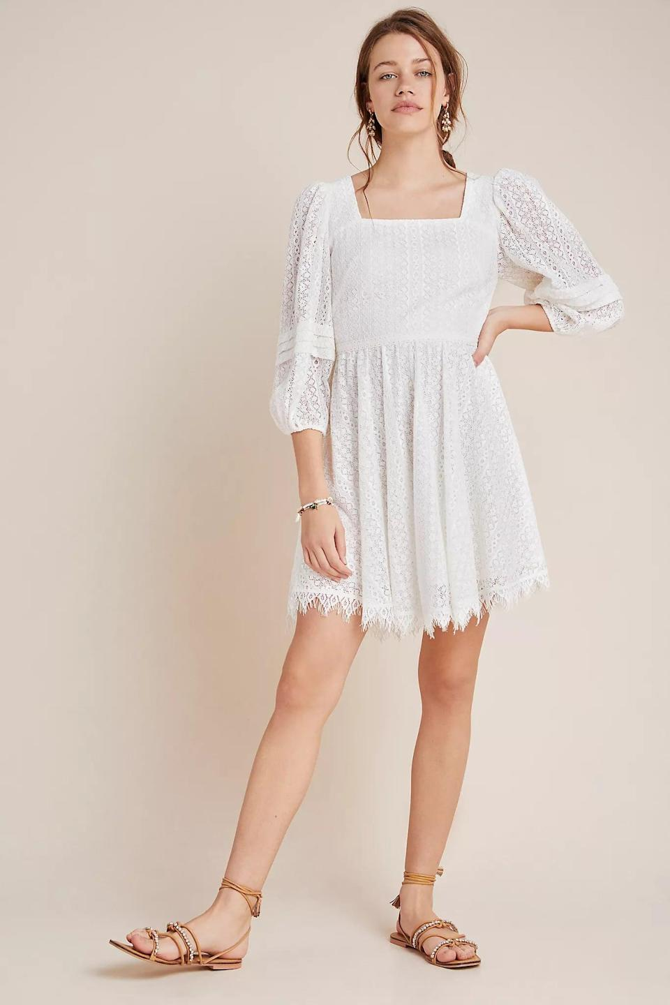 """<p>There are so many ways to style this <a href=""""https://www.popsugar.com/buy/Shoshanna-Vega-Lace-Mini-Dress-579971?p_name=Shoshanna%20Vega%20Lace%20Mini%20Dress&retailer=anthropologie.com&pid=579971&price=318&evar1=fab%3Aus&evar9=33517892&evar98=https%3A%2F%2Fwww.popsugar.com%2Ffashion%2Fphoto-gallery%2F33517892%2Fimage%2F47532442%2FShoshanna-Vega-Lace-Mini-Dress&list1=shopping%2Csummer%2Clace%2Csummer%20fashion&prop13=api&pdata=1"""" class=""""link rapid-noclick-resp"""" rel=""""nofollow noopener"""" target=""""_blank"""" data-ylk=""""slk:Shoshanna Vega Lace Mini Dress"""">Shoshanna Vega Lace Mini Dress</a> ($318, originally $398).</p>"""
