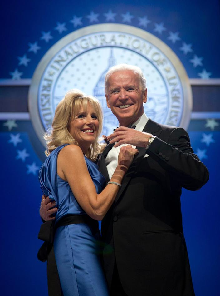 Vice President Joe Biden and second lady Jill Biden dance at the Inaugural Ball,  Jan. 21, 2013, at the Washington Convention Center. She wore a silky blue Vera Wang gown with a draped front and back and a black belt at the waist.