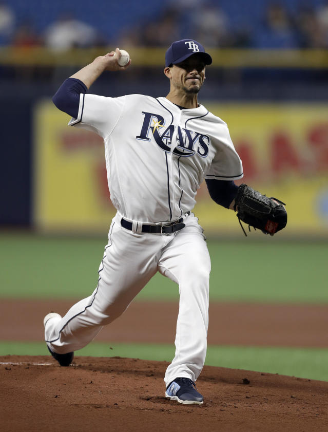Tampa Bay Rays starting pitcher Charlie Morton delivers to the Houston Astros during the first inning of a baseball game Friday, March 29, 2019, in St. Petersburg, Fla. (AP Photo/Chris O'Meara)