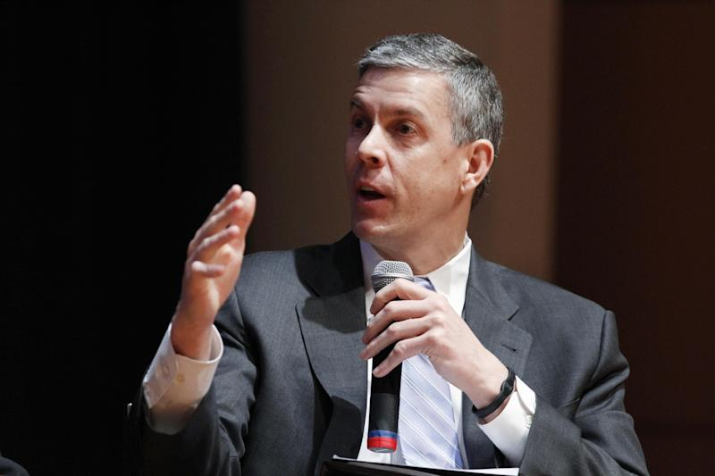 """FILE - In this March 2, 2012 file photo, Education Secretary Arne Duncan speaks during a forum on education at American University in Washington. More than 70 percent of students involved in school-related arrests or cases referred to law enforcement were Hispanic or African-American, according to an Education Department report. It's raising new concerns among civil rights groups about a """"school-to-prison"""" pipeline for minorities.  (AP Photo/Jacquelyn Martin, File)"""