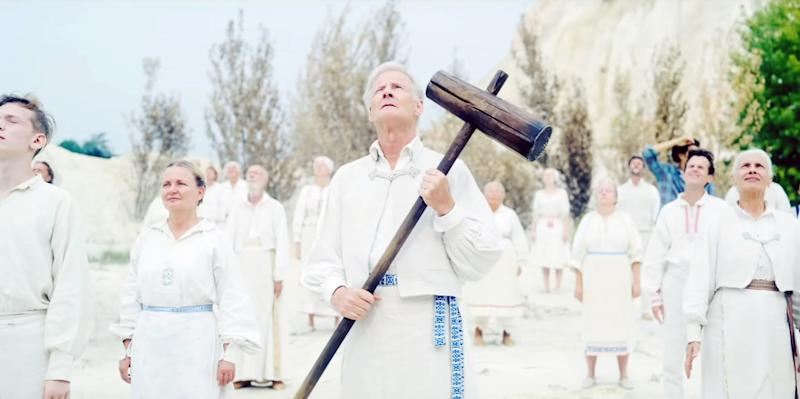 Maximilian Slash Marton wields the cudgel used in the Swedish folklore-inspired suicide sequence in 'Midsommar' (PHoto: A24/Courtesy Everett Collection)