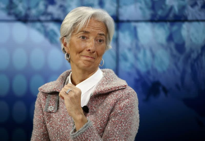Lagarde, Managing Director of the International Monetary Fund (IMF) reacts during the session 'The BBC World Debate: A Richer World, but for Whom?' in the Swiss mountain resort of Davos