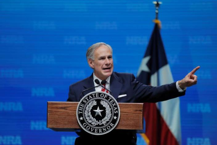 FILE PHOTO: Texas Governor Greg Abbott speaks at the annual NRA convention in Dallas, Texas