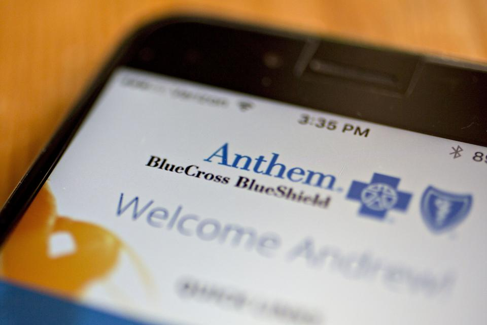 The Anthem Inc. website is displayed for a photograph on an Apple Inc. iPhone in Washington, D.C., U.S., on Saturday, April 21, 2018. Anthem Inc. is benefiting from a decision last year to retreat from the Affordable Care Act's health insurance markets and raise prices significantly. Photographer: Andrew Harrer/Bloomberg via Getty Images