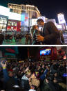 A combo of images shows a couple kissing, top, as they celebrate New Year's Eve along the Las Vegas Strip late on Thursday, Dec 31, 2020, in Las Vegas and bottom, revelers celebrate during a New Year's party in downtown Las Vegas in the first moments on Wednesday, Jan. 1, 2020. As the world says goodbye to 2020, there will be countdowns and live performances, but no massed jubilant crowds in traditional gathering spots like the Champs Elysees in Paris and New York City's Times Square this New Year's Eve. The virus that ruined 2020 has led to cancelations of most fireworks displays and public events in favor of made-for-TV-only moments in party spots like London and Rio de Janeiro. (AP Photo/David Becker and Chase Stevens/Las Vegas Review-Journal via AP)