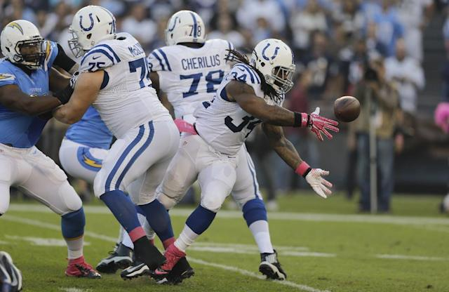 Indianapolis Colts running back Trent Richardson, right, tosses the ball back to quarterback Andrew Luck, not pictured, while playing the San Diego Chargers during the first half of an NFL football game Monday, Oct. 14, 2013, in San Diego. (AP Photo/Lenny Ignelzi)