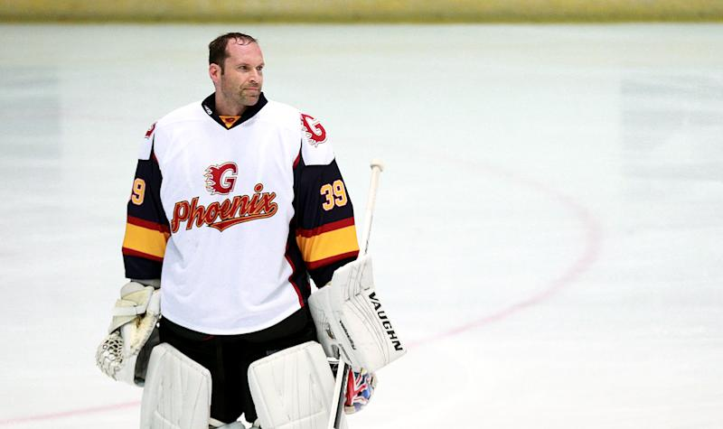 Guildford Phoenix goaltender Petr Cech during the NIHL2 match at Guildford Spectrum Leisure Complex, Guildford. (Photo by Ian Walton/PA Images via Getty Images)