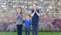 """<p>The Cambridge kids took part in the """"Clap for our Carers"""" campaign, a nationwide initiative to show thanks and appreciation for NHS workers during this unprecedented time. Here, they are giving medical professionals a round of applause. <a href=""""https://www.townandcountrymag.com/society/tradition/a31945537/prince-george-princess-charlotte-prince-nhs-coronavirus-clapping-video/"""" rel=""""nofollow noopener"""" target=""""_blank"""" data-ylk=""""slk:Watch a video of this sweet moment here."""" class=""""link rapid-noclick-resp"""">Watch a video of this sweet moment here.</a></p>"""