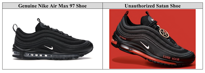 """Nike Air Max 97 compared to the """"Satan Shoes"""" that MSCHF released in collaboration with Lil Nas X."""