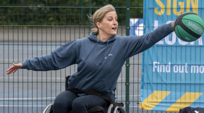 LONDON, ENGLAND - MAY 20: Sophie, Countess of Wessex attends the launch of the Inspire a Generation programme at Finsbury Park on May 20, 2021 in London, England. The programme will give thousands of people the opportunity to try wheelchair basketball for the first time. (Photo by UK Press Pool/UK Press via Getty Images)
