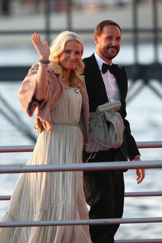 AMSTERDAM, NETHERLANDS - APRIL 30: Crown Princess Mette-Marit of Norway and Crown Prince Haakon arrive at the Muziekbouw following the water pageant after the abdication of Queen Beatrix of the Netherlands and the Inauguration of King Willem Alexander of the Netherlands on April 30, 2013 in Amsterdam, Netherlands. (Photo by Chris Jackson/Getty Images)