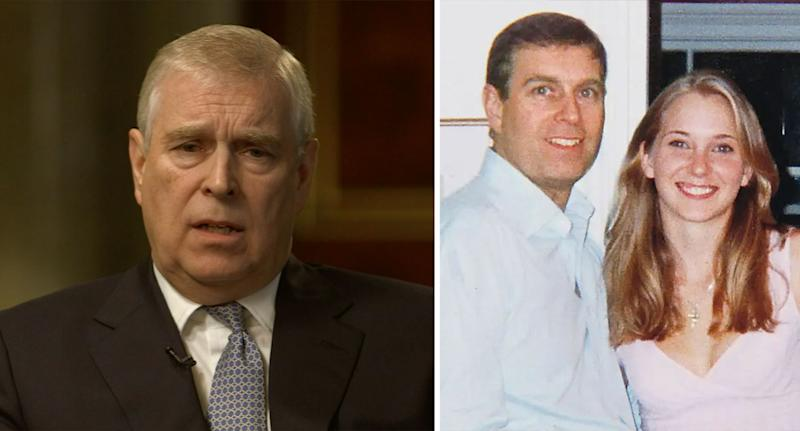 Prince Andrew during the explosive BBC interview; a photograph of Andrew with his accuser, Virginia Roberts (BBC)