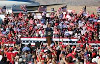 BULLHEAD CITY, ARIZONA - OCTOBER 28: U.S. President Donald Trump speaks during a campaign rally on October 28, 2020 in Bullhead City, Arizona. With less than a week until Election Day, Trump and Democratic presidential nominee Joe Biden are campaigning across the country. (Photo by Isaac Brekken/Getty Images)
