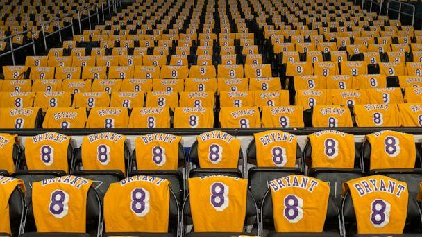 PHOTO: Kobe Bryant shirts are set on seats inside the Staples Center in advance of the Los Angeles Lakers game against the Portland Trail Blazers in Los Angeles, Jan. 31, 2020. (Sandy Hooper/USA Today Sports via Reuters)