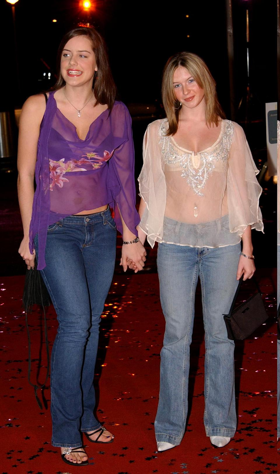 EastEnders actresses Michelle Ryan and Brooke Kinsella arriving for the recording of 'TV Moments 2002' at BBC TV Centre in West London. (Photo by Andy Butterton - PA Images/PA Images via Getty Images)