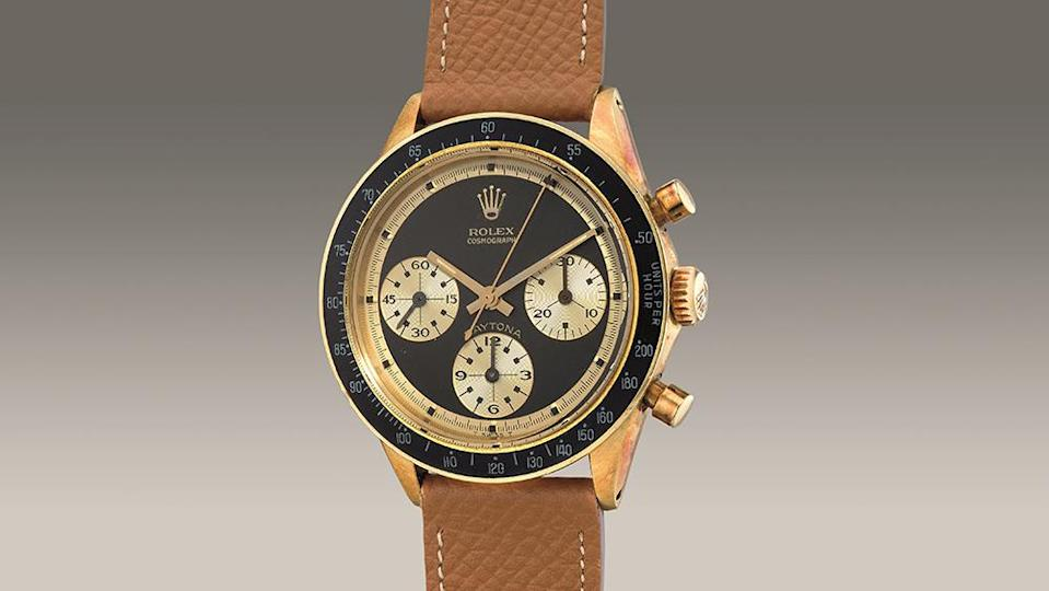 """A close-up of the 1968 """"John Player Special"""" Rolex Daytona. - Credit: Phillips"""