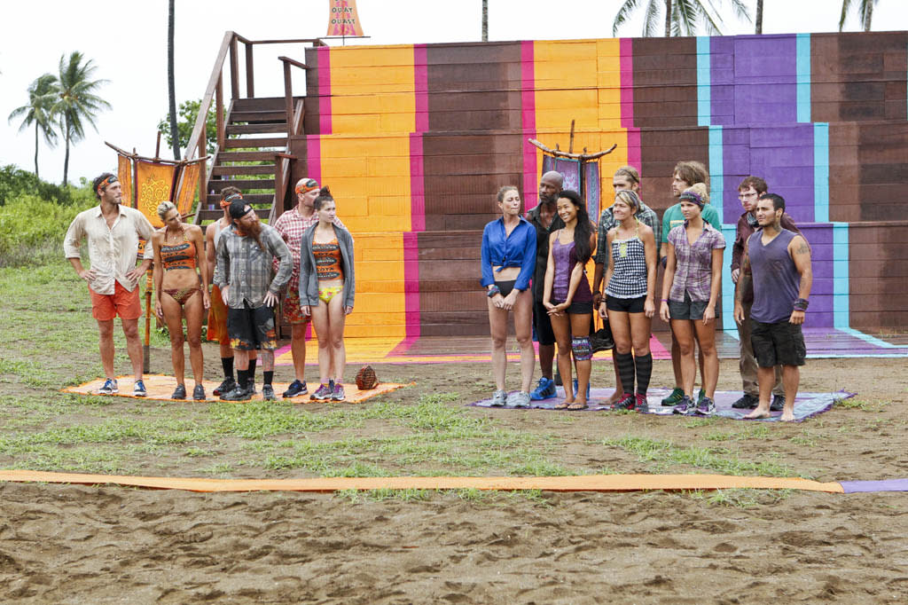 """Persona Non Grata"" - The Gota and Bikal Tribe line up before the Immunity Challenge during the fifth episode of ""Survivor: Caramoan - Fans vs. Favorites."""