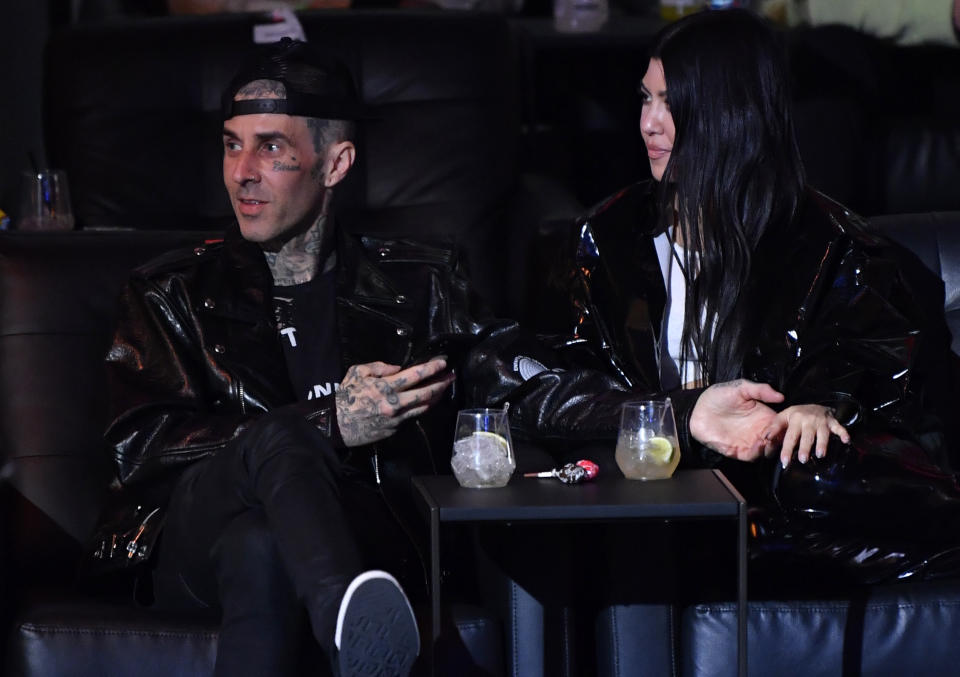 Travis Barker got Kourtney Kardashian's name tattooed on his chest. (Photo: Jeff Bottari/Zuffa LLC)