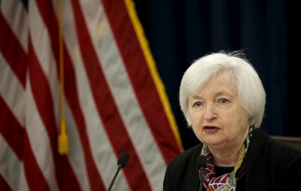 U.S. Federal Reserve Chair Janet Yellen holds a news conference following the two-day Federal Open Market Committee (FOMC) policy meeting in Washington March 16, 2016. REUTERS/Kevin Lamarque      TPX IMAGES OF THE DAY