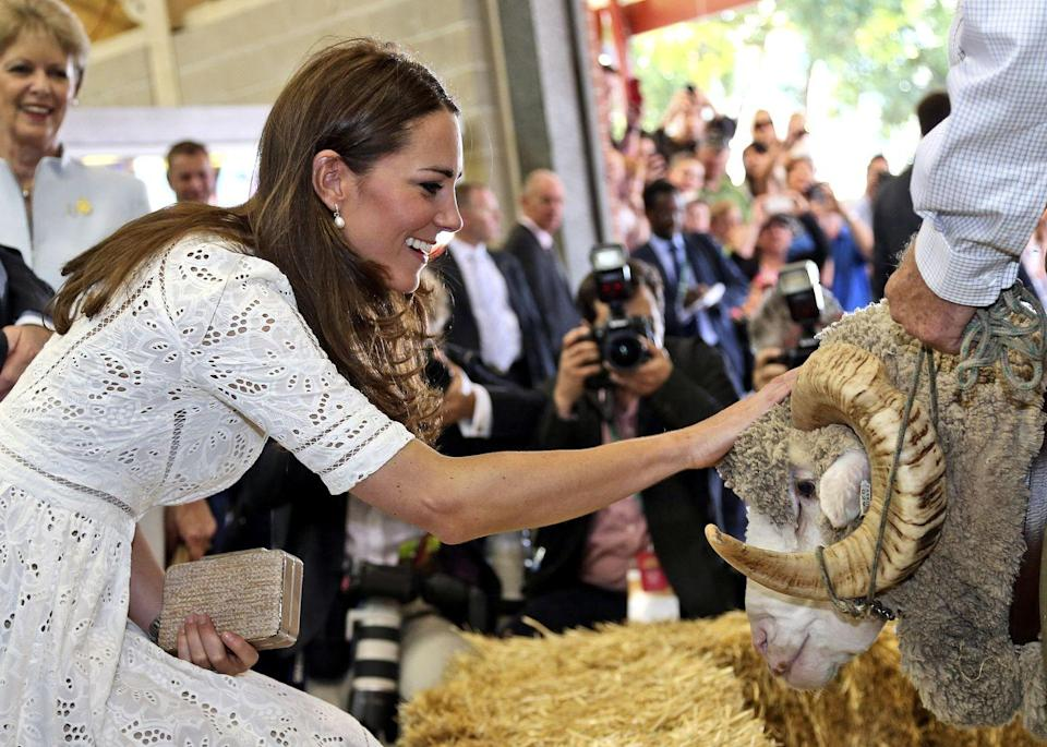 <p>This pretty eyelet dress from Zimmermann was the perfect look for petting a ram at the Royal Easter Show in Sydney. </p>