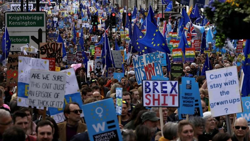 Anti-Brexit protesters march in London to demand another vote