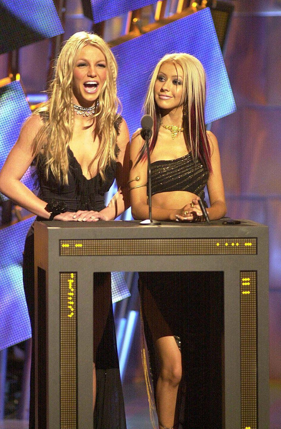"""<p>Who could forget the rivalry between the two pop divas? <a href=""""https://www.eonline.com/news/933841/the-complete-history-of-christina-aguilera-and-britney-spears-long-running-rivalry-including-everything-you-forgot"""" rel=""""nofollow noopener"""" target=""""_blank"""" data-ylk=""""slk:Britney and Christina's relationship"""" class=""""link rapid-noclick-resp"""">Britney and Christina's relationship </a>dates all the way back to when the two were in the <em>The Mickey House Club</em> together, but things apparently turned sour when the two stars were pitted against each other at the onset of their careers, with rumors of a love triangle with Justin Timberlake. From there on out, the two stars continued to take swipes at each other in the press, with Christina once <a href=""""https://ew.com/article/2003/12/29/britney-and-christina-rivalry-heats/"""" rel=""""nofollow noopener"""" target=""""_blank"""" data-ylk=""""slk:calling Britney"""" class=""""link rapid-noclick-resp"""">calling Britney</a> """"a lost little girl, someone who desperately needs guidance."""" </p>"""