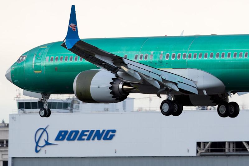 A Boeing 737 Max 8 returns from a test flight on March 12, 2019.