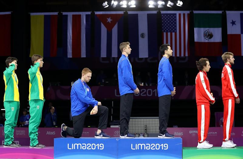 U.S. Olympic Fencer Kneels in National Anthem Protest During Pan-Am Games Medal Ceremony