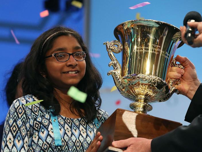 Ananya Vinay, 12, of Fresno, California wins the 2017 Scripps Spelling Bee: Mark Wilson/Getty Images