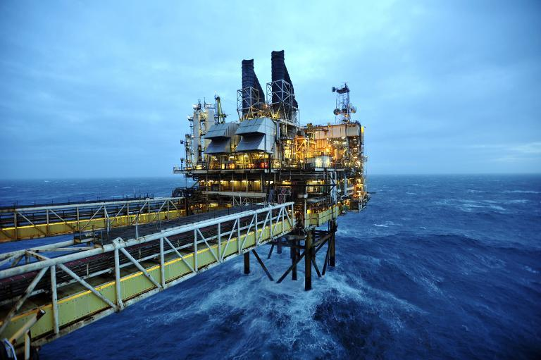 The BP ETAP (Eastern Trough Area Project) oil platform in the North Sea, around 100 miles east of Aberdeen, Scotland on February 24, 2014 (AFP Photo/Andy Buchanan)