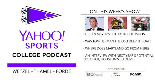 On this week's College Football Podcast, Dan Wetzel, Pat Forde and Pete Thamel discuss Urban Meyer's situation and have an interview with Houston's Ed Oliver. (Yahoo Sports)