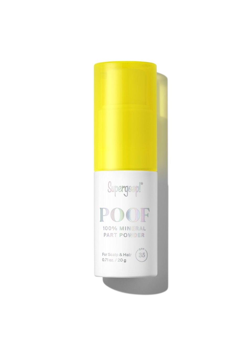 """<p>Both doctors swear by the <span>Supergoop! Poof Part Powder SPF 35 Powder for Scalp and Hair</span> ($34) because of its lightweight formula and staying power. </p> <p>""""It feels similar to a dry shampoo and has broad-spectrum SPF and UV protection for the scalp,"""" Dr. Peredo said. """"It is also cruelty-free, clean, and safe for coral reefs. It is formulated with zinc oxide, which is an ingredient I always look for in a sunscreen."""" </p> <p>According to Dr. Halim, this one also doubles as a hair texturizer.</p>"""