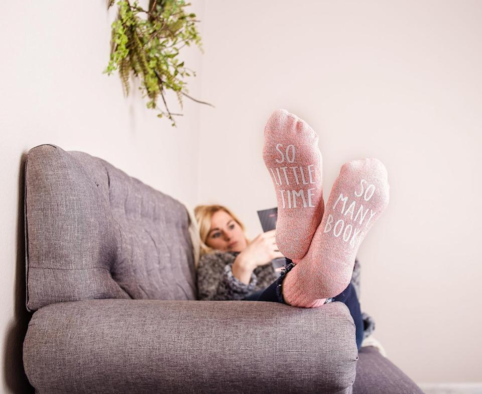 <p>These <span>Book Socks</span> ($12) are cozy and say what we're all thinking.</p>