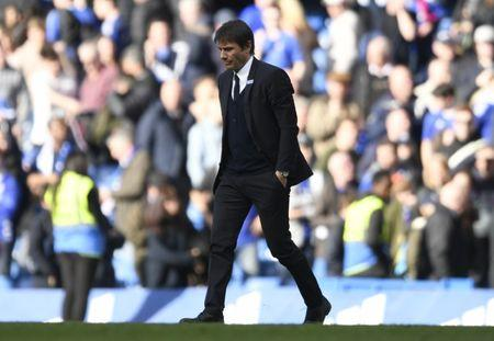 Chelsea manager Antonio Conte looks dejected after the match