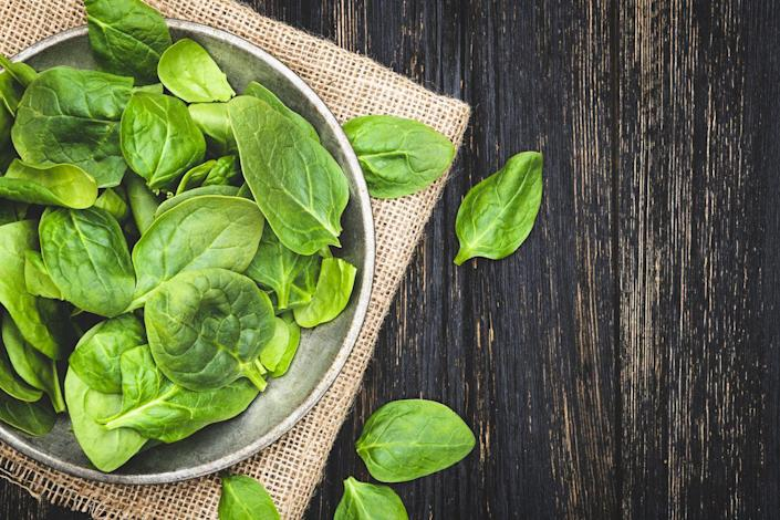 """<p>This veggie (and many other dark, leafy greens) contain a lot fiber and <a href=""""https://www.prevention.com/food-nutrition/g20105121/magnesium-deficiency-symptoms/"""" rel=""""nofollow noopener"""" target=""""_blank"""" data-ylk=""""slk:magnesium"""" class=""""link rapid-noclick-resp"""">magnesium</a>, which Cording describes as """"nature's muscle relaxer."""" Try a spinach salad or toss some greens into a smoothie for relief.</p>"""