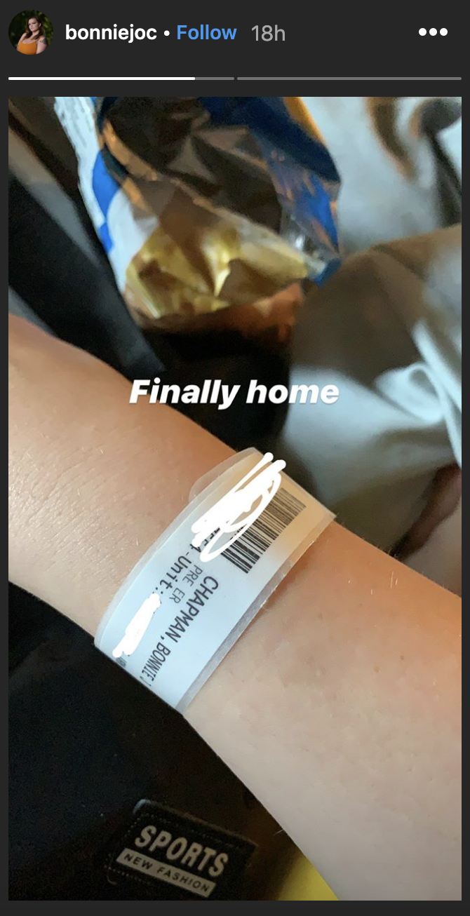 """Bonnie Chapman wrote that she is """"finally home"""" after a hospital trip. (Instagram: Bonnie Chapman via Instagram)"""