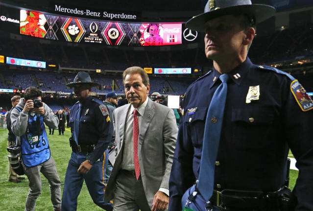 Alabama head coach Nick Saban arrives before the Sugar Bowl semi-final playoff game against Clemson, for the NCAA college football national championship, in New Orleans, Monday, Jan. 1, 2018. (AP Photo/Butch Dill)