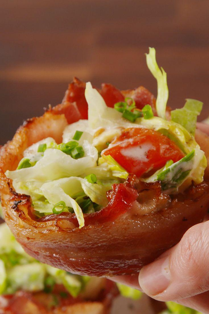 """<p>Why isn't everything in a bacon cup?! 😫</p><p>Get the recipe from <a href=""""https://www.delish.com/cooking/recipe-ideas/recipes/a52604/blt-cups-recipe/"""" rel=""""nofollow noopener"""" target=""""_blank"""" data-ylk=""""slk:Delish"""" class=""""link rapid-noclick-resp"""">Delish</a>. </p>"""
