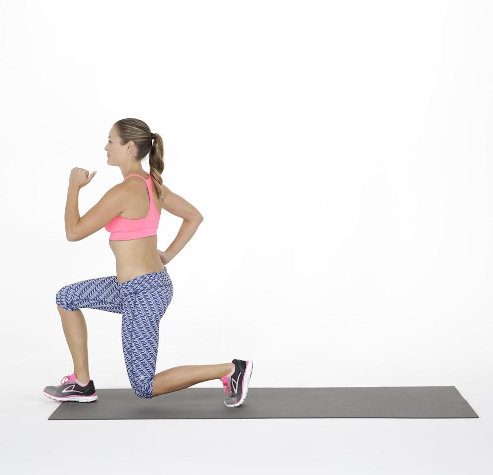 <ul> <li>Stand tall with your feet hips-width distance apart. Bend the elbows at your sides or rest your hands on the hips.</li> <li>Step forward with the right foot, lowering your hips until both knees are bent at about a 90-degree angle. Keep the front knee directly above the ankle, and lower the left knee to just above the floor. </li> <li>Keep the weight in your heels as you push back to the starting position.</li> <li>Repeat stepping with the left foot this time, completing one rep.</li> <li>Do as many reps as you can in 25 seconds, followed by a 10-second rest.</li> </ul>