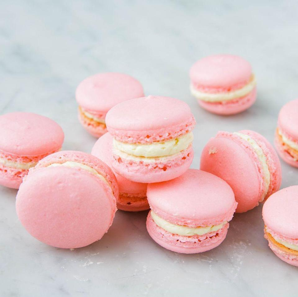 """<p>This popular French confection is made with almond flour and egg whites, making it the perfect sweet bite for Passover. </p><p><em><a href=""""https://www.delish.com/cooking/recipe-ideas/a25324082/how-to-make-macarons/"""" rel=""""nofollow noopener"""" target=""""_blank"""" data-ylk=""""slk:Get the recipe from Delish »"""" class=""""link rapid-noclick-resp"""">Get the recipe from Delish »</a></em></p>"""