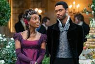 """<p><a href=""""https://www.oprahmag.com/entertainment/tv-movies/a34398548/bridgerton-season-1-release-date-trailer-cast/"""" rel=""""nofollow noopener"""" target=""""_blank"""" data-ylk=""""slk:Netflix's new series Bridgerton"""" class=""""link rapid-noclick-resp"""">Netflix's new series <em><em><em>Bridgerton </em></em></em></a>is a romance between Simon Basset, a.k.a the Duke of Hastings (Rége-Jean Page) and Daphne Bridgerton (Phoebe Dynevor), but it's also a love affair between the cast and the audience—because how <em>can't </em>we fall for this charming set? Out December 25, the series's larger-than-life ensemble cast brings<a href=""""https://www.amazon.com/Duke-2nd-Epilogue-Bridgertons-Book-ebook/dp/B00UG8RP8Q/?tag=syn-yahoo-20&ascsubtag=%5Bartid%7C10072.g.34930956%5Bsrc%7Cyahoo-us"""" rel=""""nofollow noopener"""" target=""""_blank"""" data-ylk=""""slk:Julia Quinn's beloved series—"""" class=""""link rapid-noclick-resp""""> Julia Quinn's beloved series—</a>which follows the eight Bridgerton siblings' courtships—to life. </p><p>Presiding over the series is the highly recognizable voice of Julie Andrews, who narrates Lady Whistledown's salacious gossip columns. The other cast members are not household names to the same degree of Andrews—but that's about to change. </p><p>Like <em><a href=""""https://www.oprahmag.com/entertainment/a34713075/spanish-princess-lina-oviedo-relationship-legacy/"""" rel=""""nofollow noopener"""" target=""""_blank"""" data-ylk=""""slk:The Spanish Princess"""" class=""""link rapid-noclick-resp"""">The Spanish Princess </a></em><a href=""""https://www.oprahmag.com/entertainment/a34713075/spanish-princess-lina-oviedo-relationship-legacy/"""" rel=""""nofollow noopener"""" target=""""_blank"""" data-ylk=""""slk:on Starz"""" class=""""link rapid-noclick-resp"""">on Starz</a>,<em> Bridgerton </em>is<a href=""""https://www.oprahmag.com/entertainment/g33668021/best-period-dramas/"""" rel=""""nofollow noopener"""" target=""""_blank"""" data-ylk=""""slk:notable among period pieces"""" class=""""link rapid-noclick-resp""""> notable among period pieces</a> for featuring a diverse cast. Marina T"""