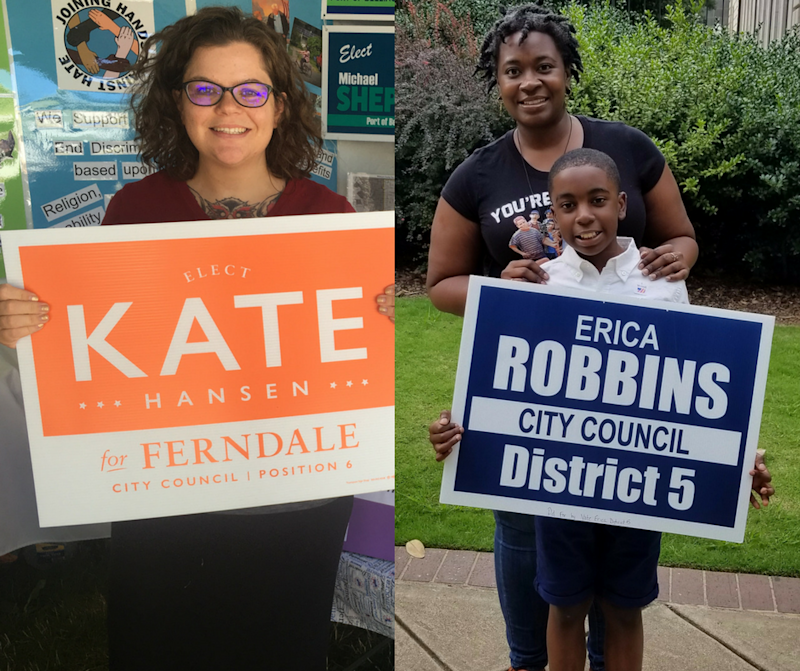 Kate Hansen, left, and Erica Robbins, right, are both mothers who decided to run for city council after the 2016 presidential election.