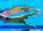 <p>Spain's Hugo Gonzalez has a moment of reflection during the men's 100m backstroke swimming event on July 25. </p>